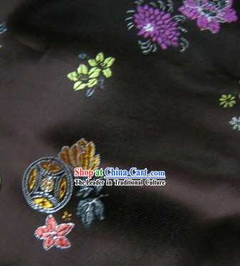 Traditional Coffee Colour Brocade Coin Fabric