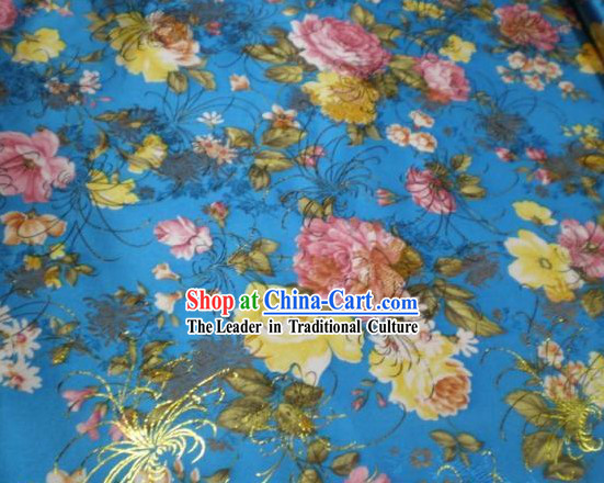 Blue Flower Brocade Fabric