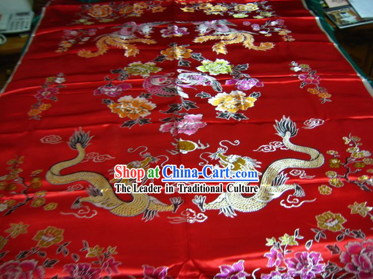 Chinese Traditional Dragon Phoenix Wedding Ducks Peony Quilt Cover