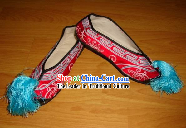 Beijing Opera Red Silk Shoes
