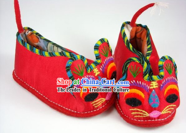 Handmade Tiger Head Shoes for Children