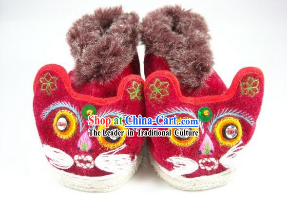 Chinese Handmade Tiger Head Shoes for Kids