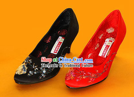 Silk Embroidery and Beaded Shoes