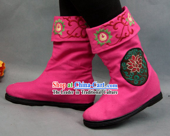 Chinese Embroidered Flower Cloth Boots