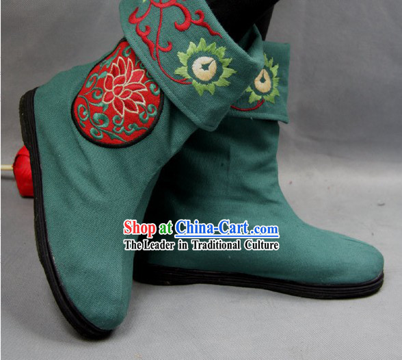 Chinese Green Embroidered Flower Cloth Boots