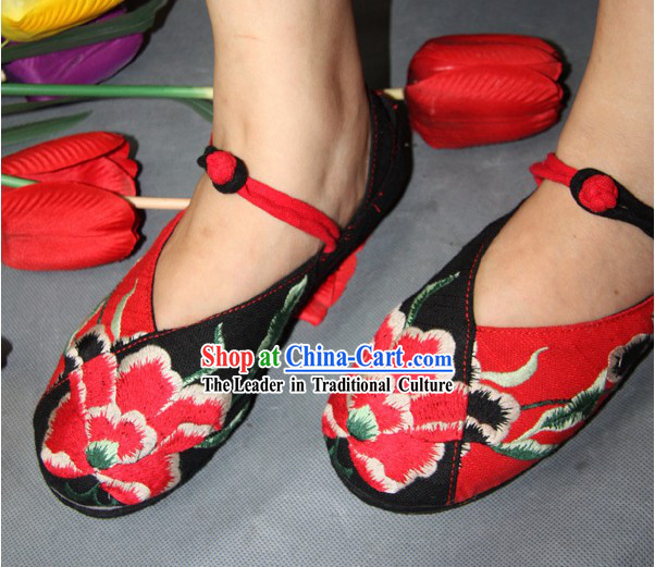 Chinese Classic Black Embroidered Peony Dance Shoes