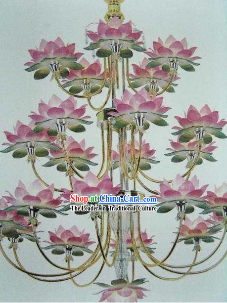 Chinese Lotus Temple Lanterns Tree Set
