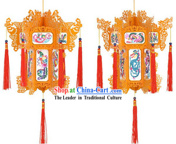 Hand Made Chinese Traditional Paper Palace Lantern - Dragon and Phoenix _red_