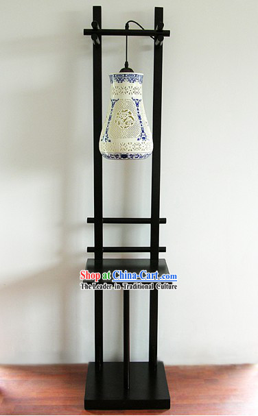 60 Height Chinese Blue and White Ceramic Floor Lantern