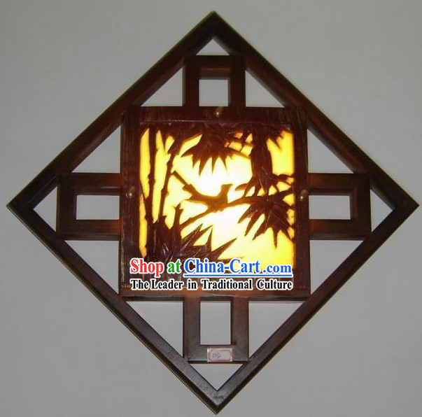 Chinese Hand Carved Bamboo Wall Lantern