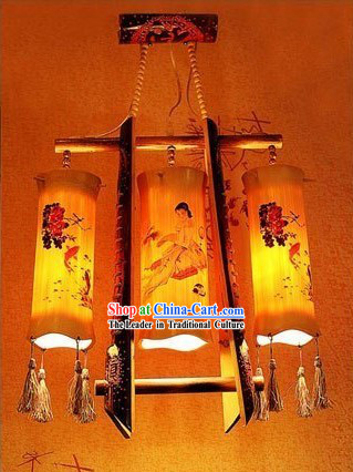 Chinese Hand Made Bamboo Ceiling Lanterns Set