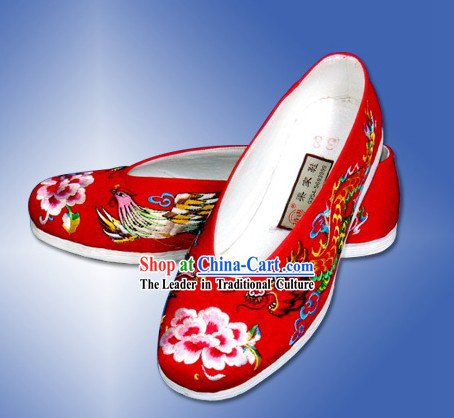 Chinese Hand Embroidered Dragon and Phoenix Cloth Shoes