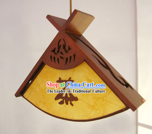Chinese Carved Wooden Fan Ceiling Lantern