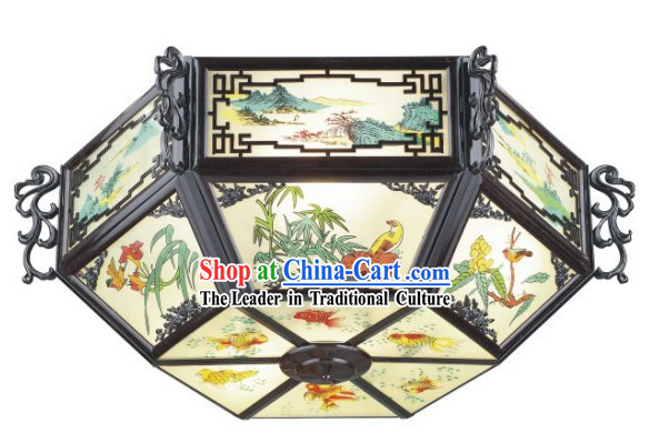 30 Inch Large Birds and Flower Chinese Palace Lantern / Painted Ceiling Lantern