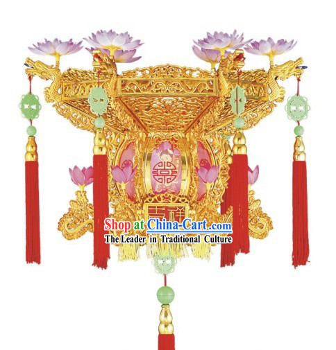 Chinese Golden Lotus Electric Palace Lantern