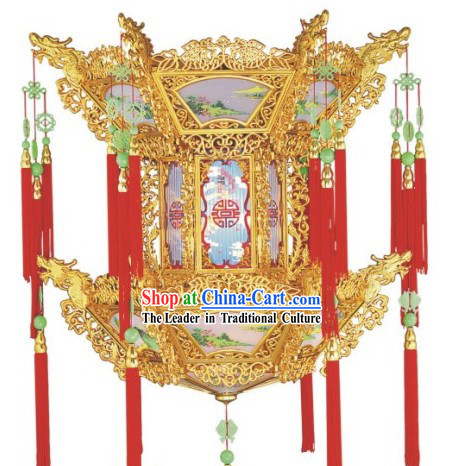 35 Inch Large Golden Dragon Chinese Palace Lantern