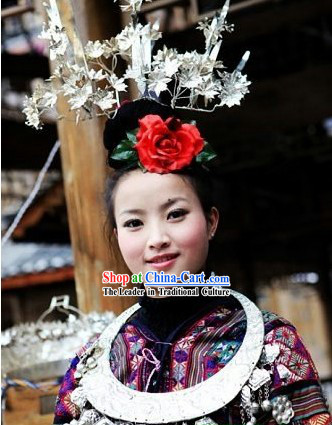 Chinese Miao Three Silver Phoenix Crown
