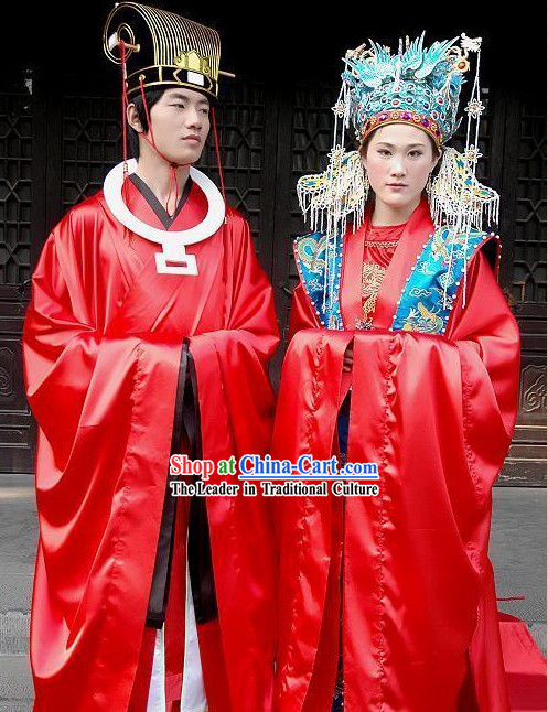Supreme Chinese Ancient Wedding Outfit and Crown 2 Complete Sets
