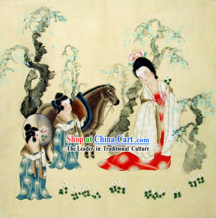 Traditional Chinese Ancient Lady Painting by Qin Shaoping