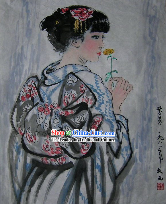 Traditional Japanese Painting Geisha by Liu Wenxi / Geisha Art Paintings