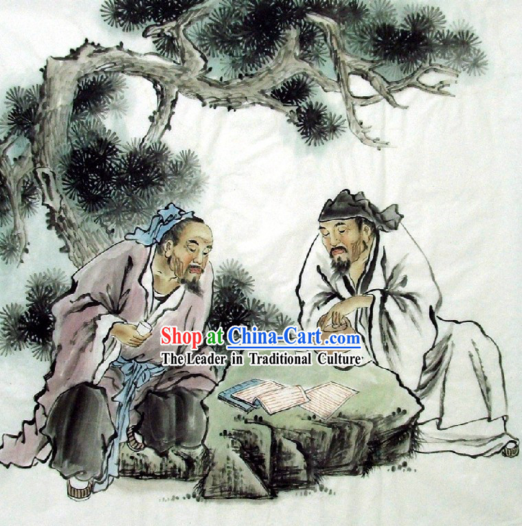 Traditional Chinese Painting - Playing Chess by Qing Shaoping