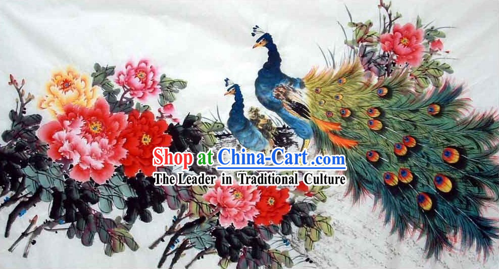 Traditional Chinese Painting - Peacock and China National Flower Peony