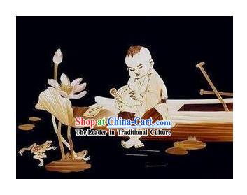 Traditional Chinese Wheat Paintings - Reading Boy