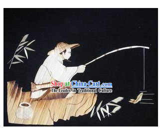 Chinese Handmade Wheat Painting - Fishing