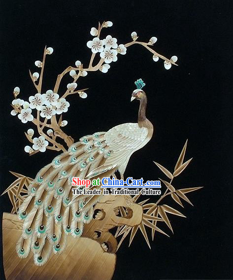 Chinese Handmade Wheat Painting - Peacock Queen