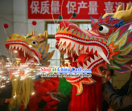 Happy Events and Festival Celebration Flame Dragon Dance Costumes Complete Set