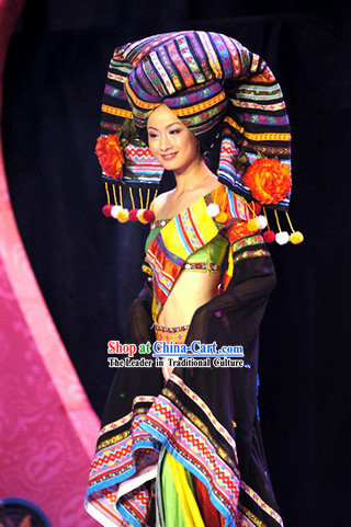 Chinese Folk Minority Costume and Hat Complete Set