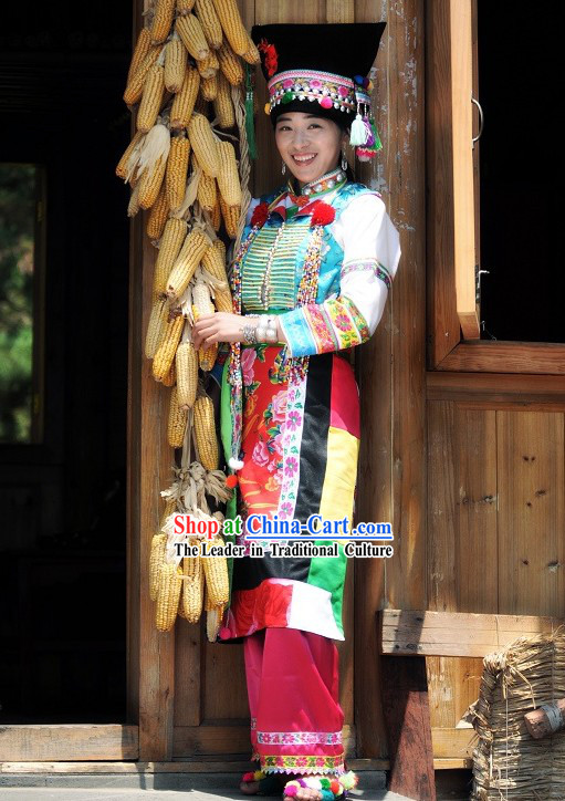 Blang / Bulang Nationality Dress and Hat Complete Set