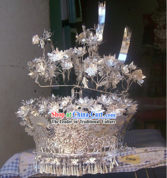 Traditional Large Silver Miao Crown