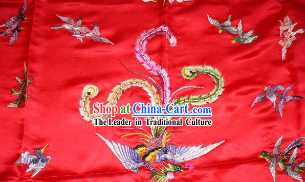Chinese Traditional Silk Wedding Embroidery Fabric Bedcover - Hundreds of Birds Worshiping Phoenix