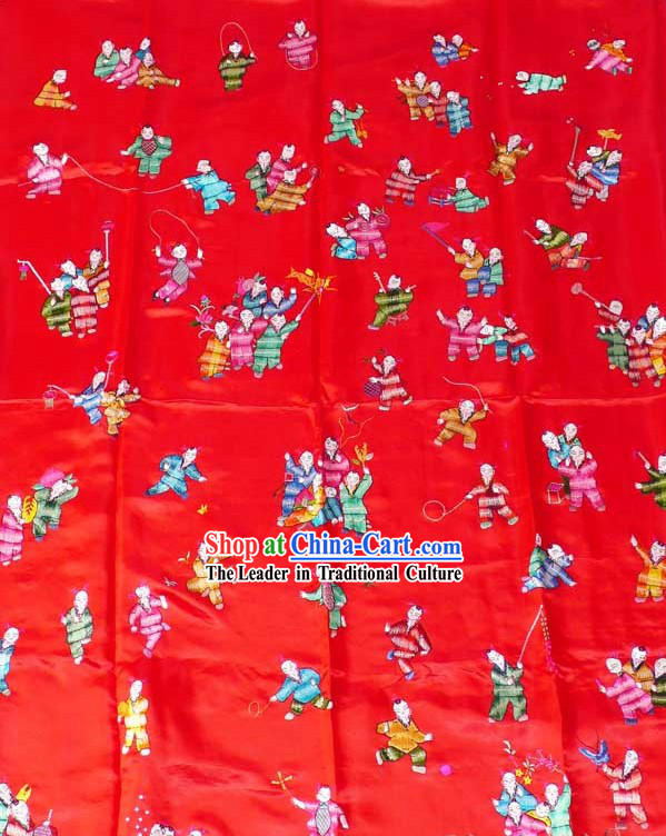 Chinese Hand Embroidered Silk Fabrics Bedcover - Hundreds of Children