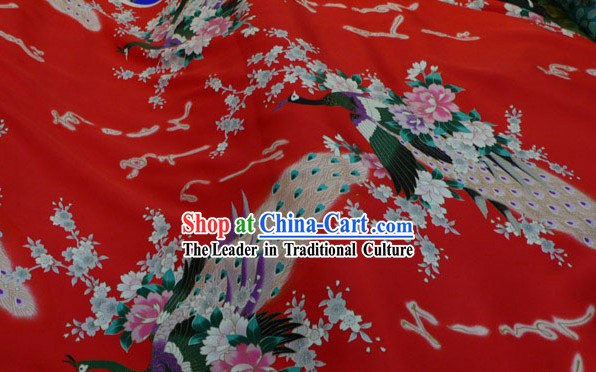 Chinese Traditional Peacock Pure Silk Fabric