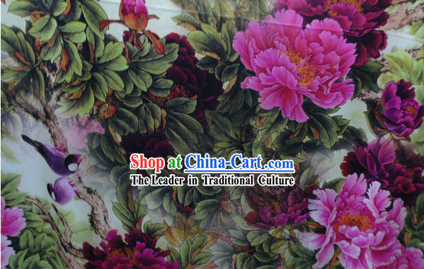 Top Pure Silk Fabric - Flower and Birds
