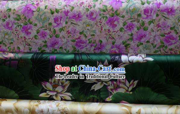 Traditional Green Lotus Pure Silk Fabric