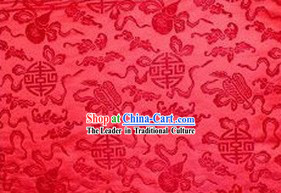 Traditional Red Fan Brocade Fabric