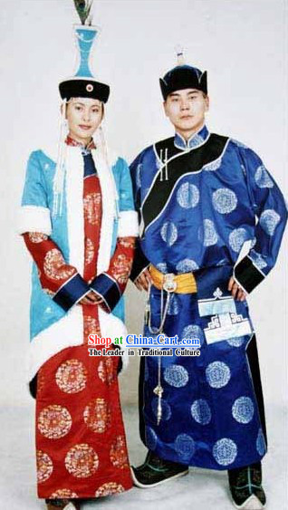 Traditional Mongolian Long Robe and Hat Complete Set for Bride and Bridegroom