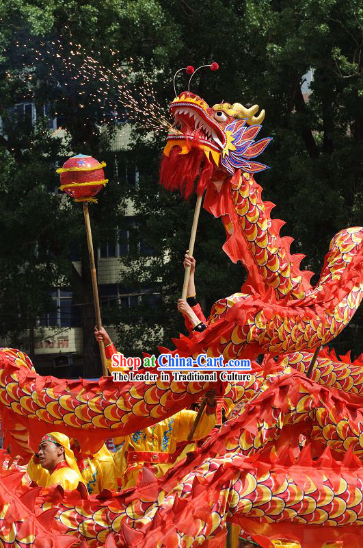 Happy Festival Celebration Dragon Dance Costumes Complete Set for Eight Middle School Students