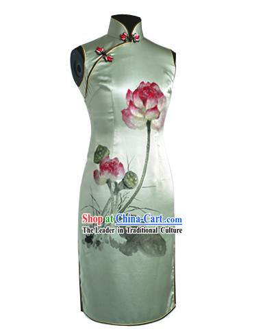 Traditional Hands Painted Lotus Silk Cheongsam