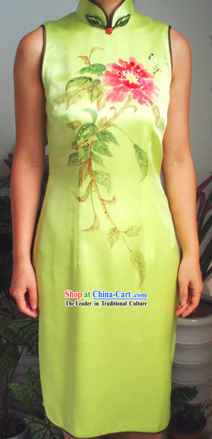 Traditional Mandarin Handmade and Painted Peony and Butterfly Silk Cheongsam