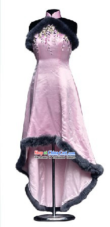 Traditional Mandarin Handmade and Embroidered Silk and Fox Fur Full Dress