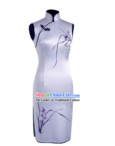 Traditional Mandarin Handmade and Painted Orchid Silk Cheongsam