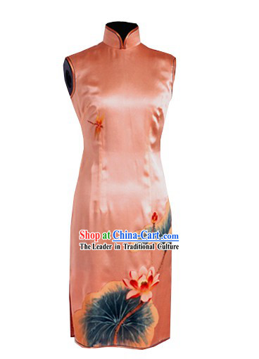 Traditional Mandarin Handmade and Painted Lotus and Dragonfly Silk Cheongsam