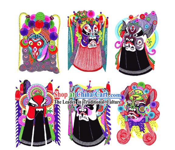 Large Chinese Traditional Handmade Opera Mask Papercut (6 pieces set)