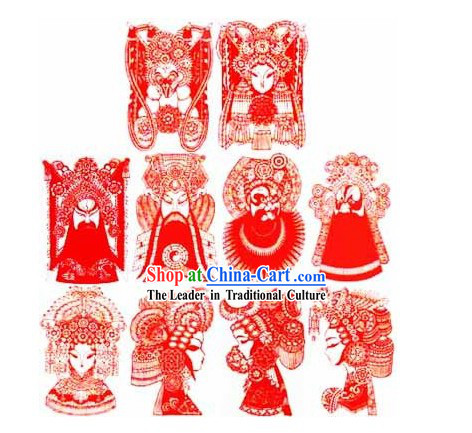 Large Chinese Traditional Handmade Opera Mask Papercut (10 pieces set)