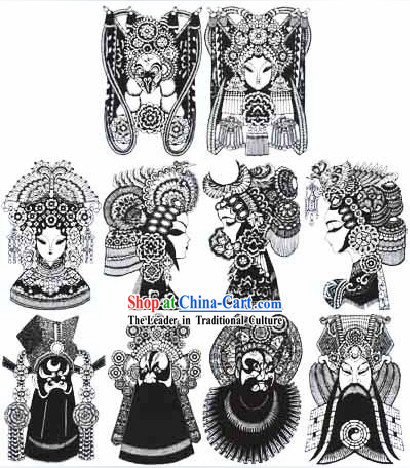 Large Chinese Traditional Handmade Opera Mask Papercut (10 pieces black and white set)
