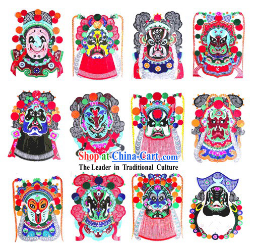 Large Chinese Traditional Handmade Opera Mask Papercut (12 pieces Symbolic Animals set)